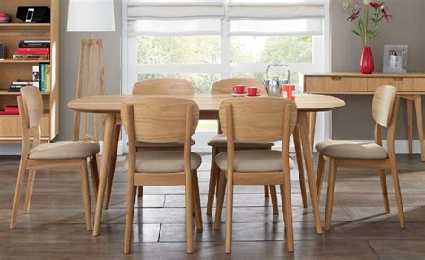 oslo oak 6 seater dining table choice of 6 dining chairs