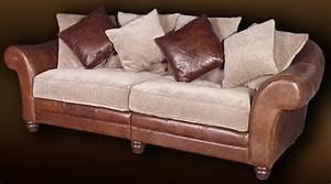 Canape de style colonial en cuir et tissu chenille for Canapé cuir style colonial