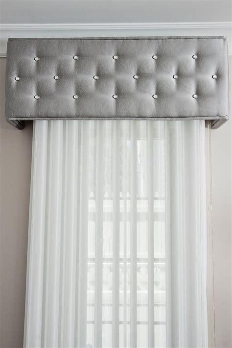 cornice box embellished  diamond head upholstery tacks