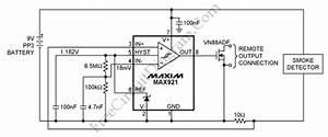 Provide remote alarm for smoke detector circuit max921 for Simple provide remote alarm for smoke detector circuit schematic diagram
