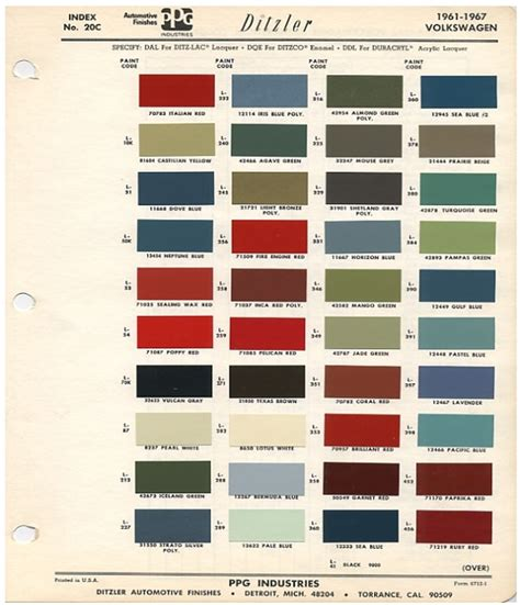 volkswagen paint codes by year original vw beetle paint schemes 66 bug project