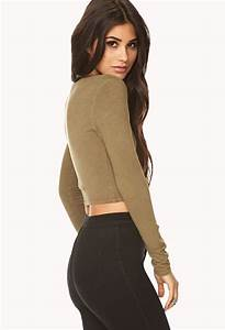 Forever 21 Long Sleeve Crop Top in Green | Lyst