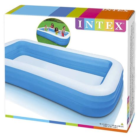 piscine gonflable rectangulaire family bleu intex ac