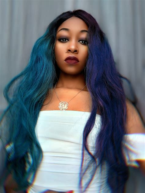 purple blue green ombre straight human hair full lace wig melody jacob