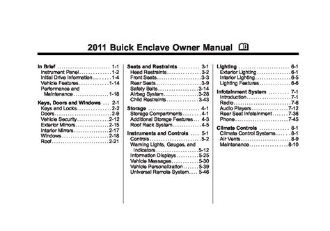 Buick Owners Manual by 2011 Buick Enclave Owners Manual Just Give Me The Damn