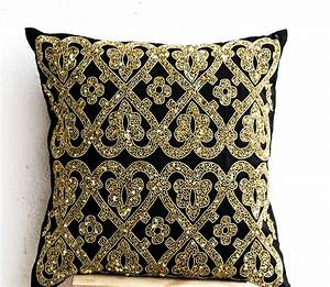 decorative throw pillow cover black gold sequin pillows With black and gold accent pillows