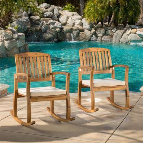 sadie outdoor acacia wood rocking chairs  cushion set