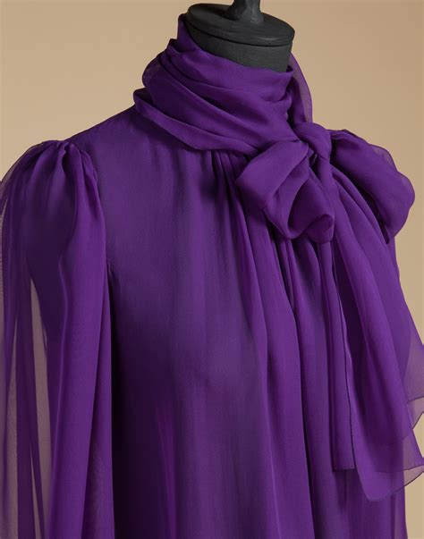 purple blouses tops lyst dolce gabbana blouse in silk chiffon with bow in
