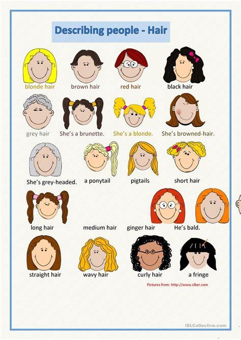 describing people hair worksheet  esl printable