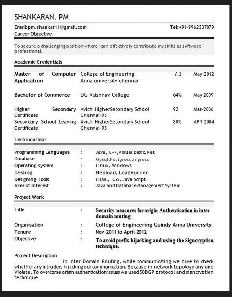 Top Resume Formats Pdf by Best Resume Format Pdf