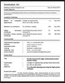 resume sle format in pdf sle resume format february 2016
