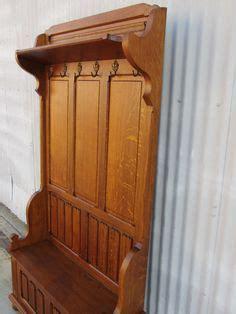 antique oak entry hall tree incorporate mirror facade