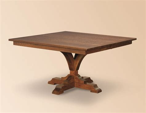 pedestal table with leaf amish rustic square dining table pedestal leaf solid wood