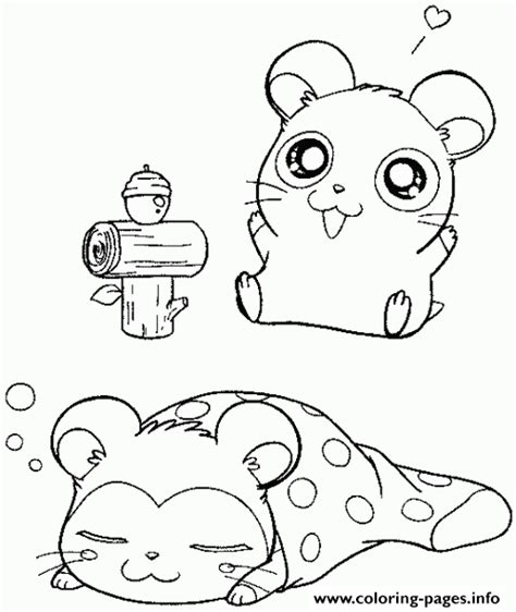 Super Cute Sleeping Hamster Coloring Page8d68
