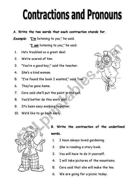 contractions  pronouns esl worksheet  marthese