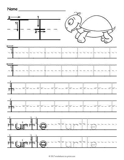free printable tracing letter t worksheet tracing