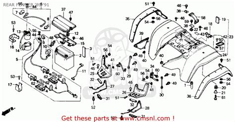 honda trx300 fourtrax 300 1991 m usa rear fender 89 91 schematic partsfiche