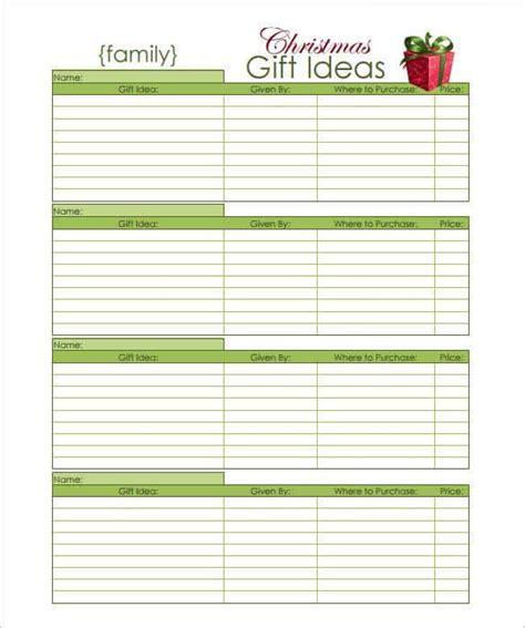 27 christmas gift list templates free printable word pdf jpeg format download free