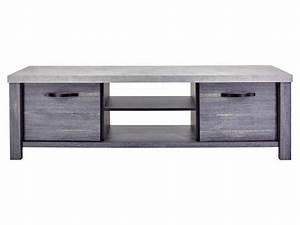 Meuble Tv Effet Beton : meuble tv maxwell coloris b ton clair ch ne cendr vente de meuble et support tv conforama ~ Teatrodelosmanantiales.com Idées de Décoration