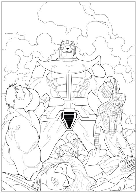 coloring marvel thanos books adult coloring pages
