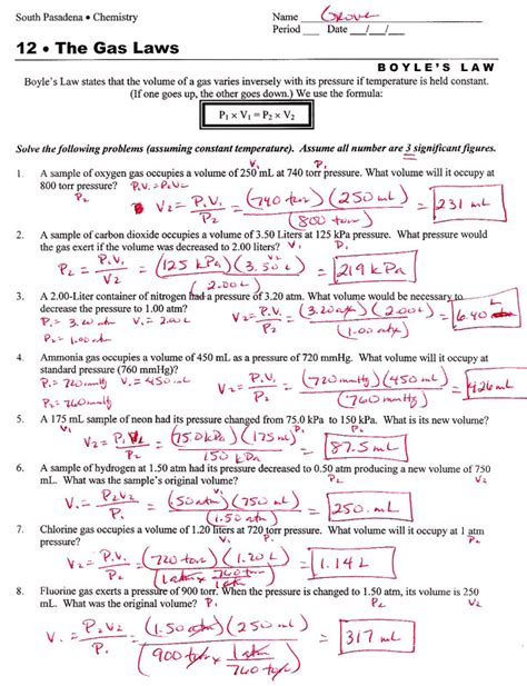 Ideal Gas Law Problems Worksheet Homeschooldressagecom