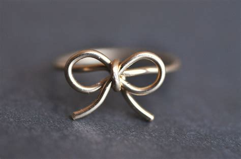 tiny bow 14k yellow gold filled wire wrap ring by muyinmolly