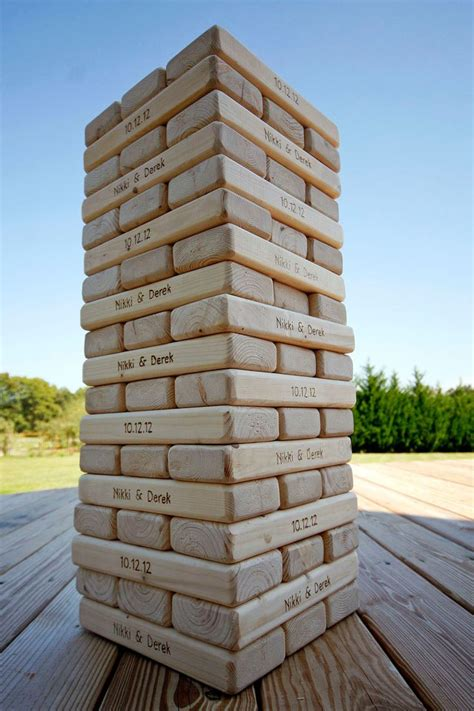 engraved giant tower diy outdoor weddings giant jenga