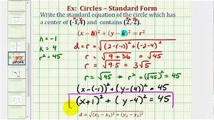 Ex  Find Standard Equation Of A Circle Given Center And