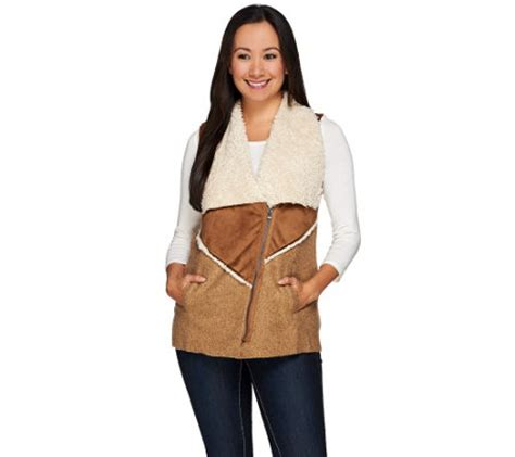 logo by lori goldstein mixed media faux sherpa zip front vest a267853 qvc com