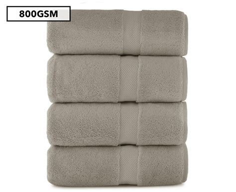 Luxury Living 800GSM Bath Towel 4 Pack Silver Scoopon Shopping
