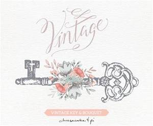 Vintage Key With Floral Bouquet Clipart / Wedding ...