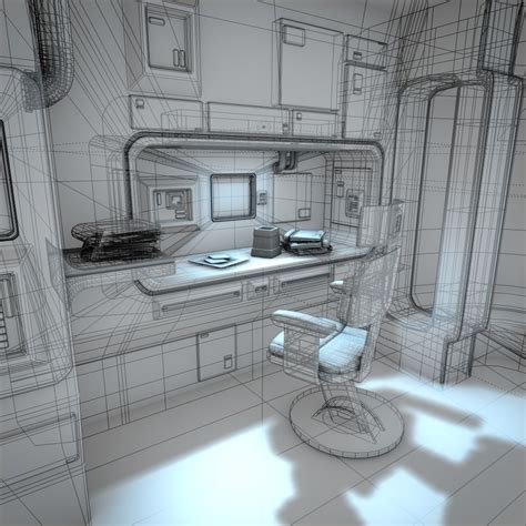 spaceship interior hd   model obj fbx lwo lw lws