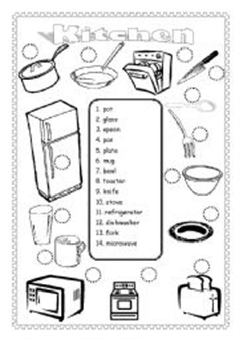 kitchen vocab match esl worksheet  jlfreeman