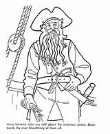 Coloring Pirate Pirates Caribbean Printable Pages Beard Sea Blackbeard Sheets Cartoon Famous Ships Activity Preschool Adult Fun Adults Ecoloringpage Toddlers sketch template