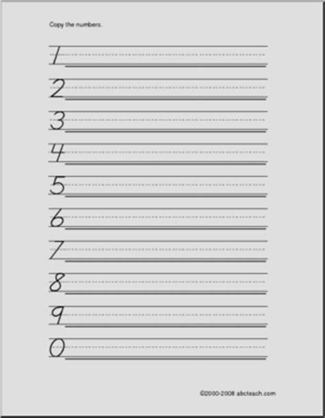 handwriting practice numbers 0 9 dn style font abcteach