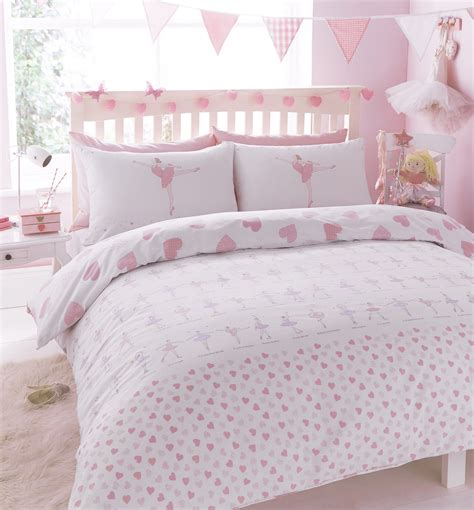 Ballerina & Hearts Design Reversible Children's Bedding