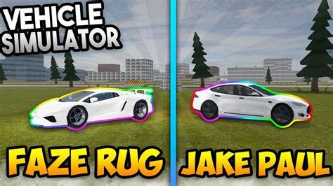 jake paul  faze rug vehicle simulator roblox youtube