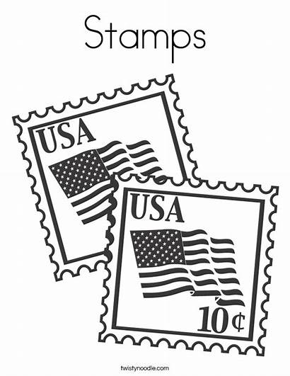Coloring Office Stamps Usa Pages Stamp Clipart