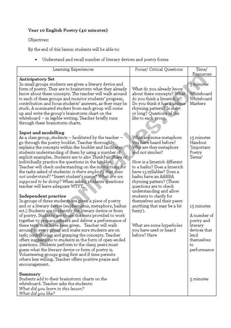 english worksheets year 10 poetry