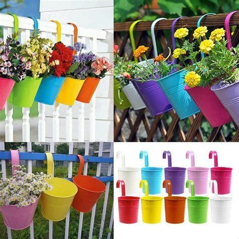 2017 fashion colorful macetas vertical garden planters metal flower pots hang hanging