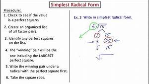 Mathcamp321  Simplest Radical Form