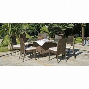 Table Et Chaise Camping : table de jardin tatiana 150 1 table 150 cm et 8 chaises marzia coussins ecru indoor outdoor ~ Nature-et-papiers.com Idées de Décoration