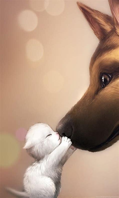cute anime kitten  dog wallpapers desktop background