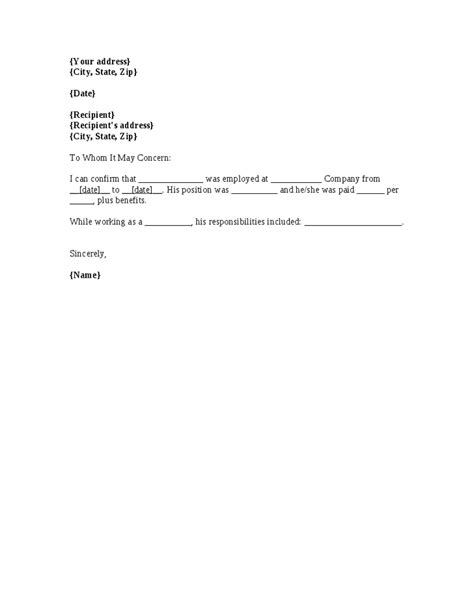 letter confirming employment no longer employed letter template the letter sle
