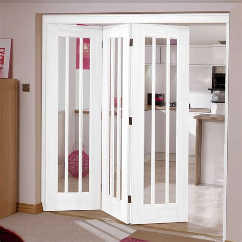 lincoln white  folding doors left clear glass mm