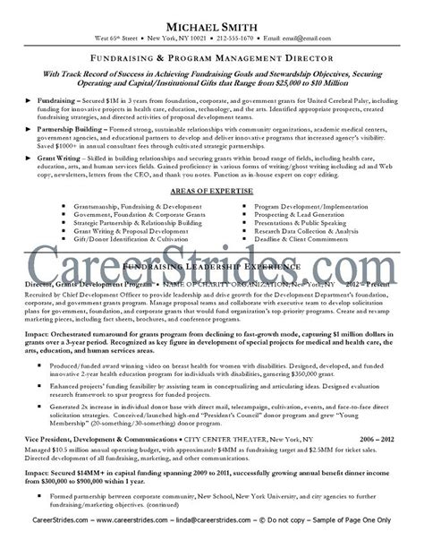 Resume Charity by Fundraiser Resume Sle Exle
