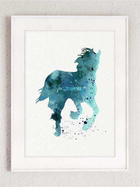 Items Similar To Horse Watercolor Painting Blue Animal