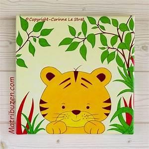 Tableau Chambre Enfant : tableau enfant chambre b b savane jungle aristide le tigre ~ Teatrodelosmanantiales.com Idées de Décoration