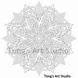 Studio Coloring Mandala Tongs Drawing sketch template