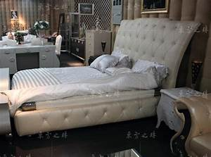 Designer modern real genuine leather bed soft bed double for Soft leather sofa bed